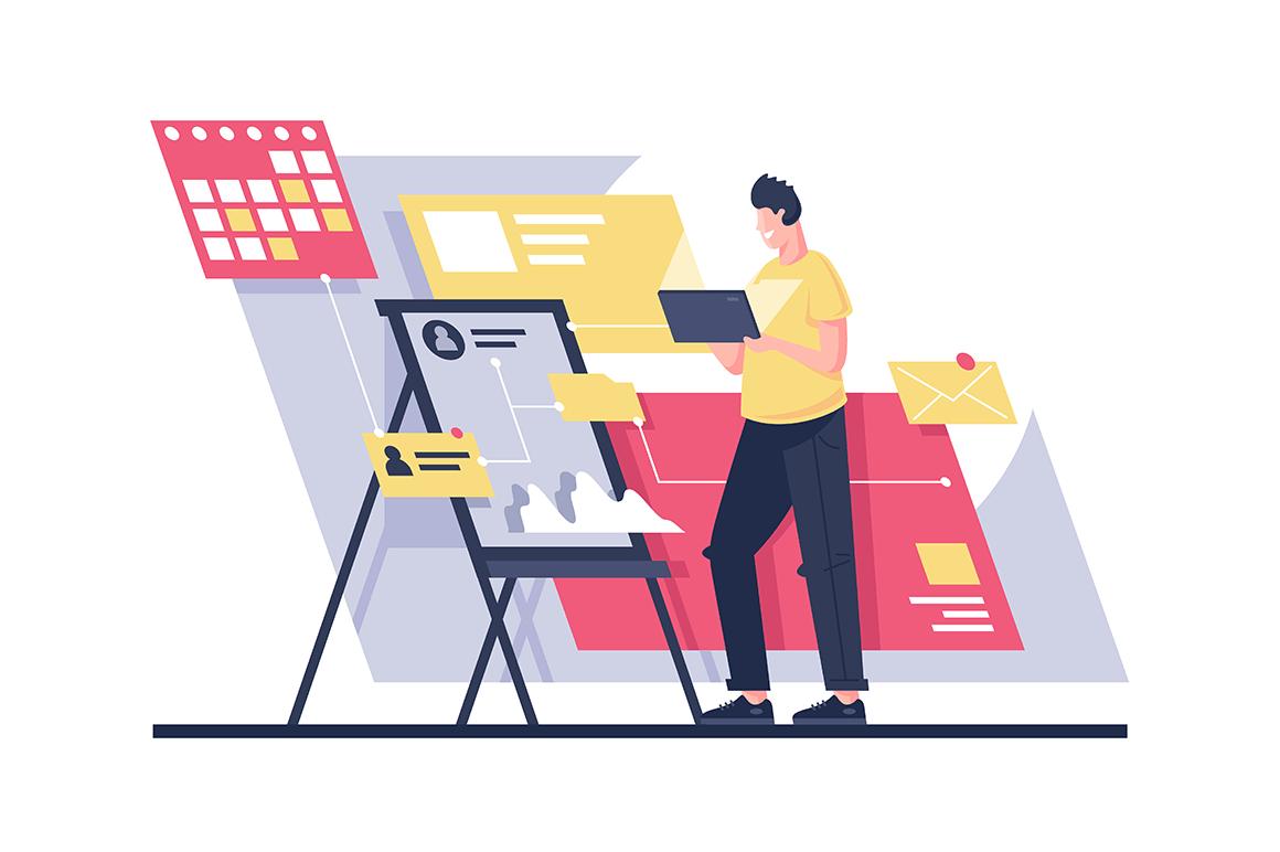 Flat man build program architecture with project management.