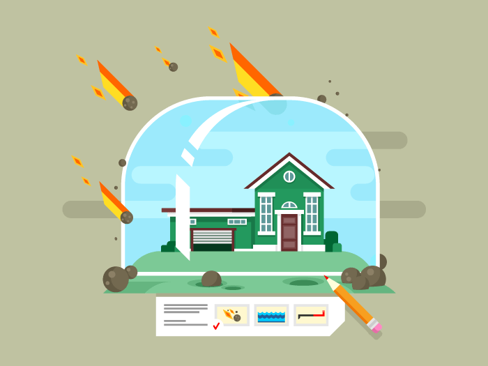 Property insurance concept flat vector illustration