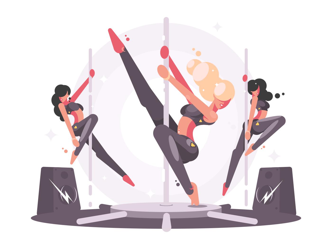 Girls dancing on pylon. Elegant women sport. Vector flat illustration
