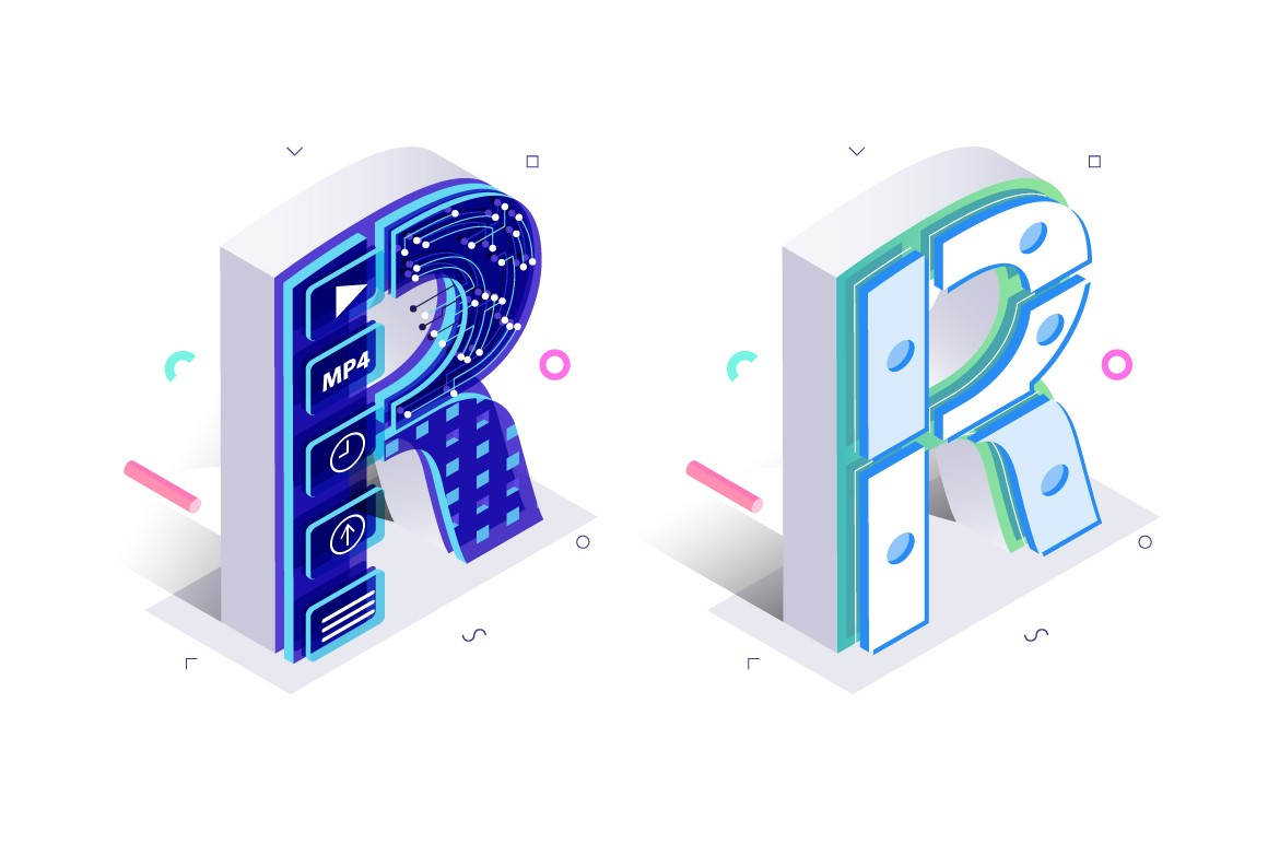 Letter R made with cellular virtual style