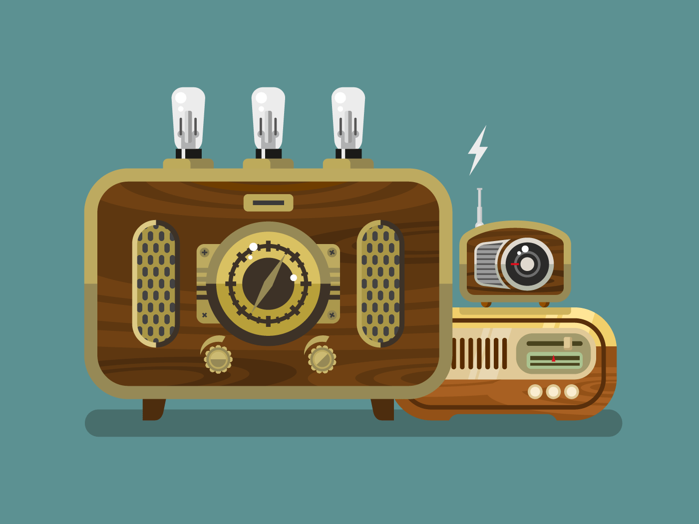 Vintage radios flat illustration
