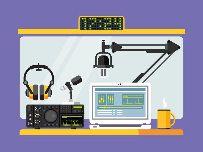 Radio station studio flat vector illustration