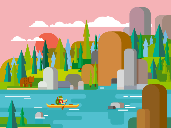 Rafting on river flat vector illustration