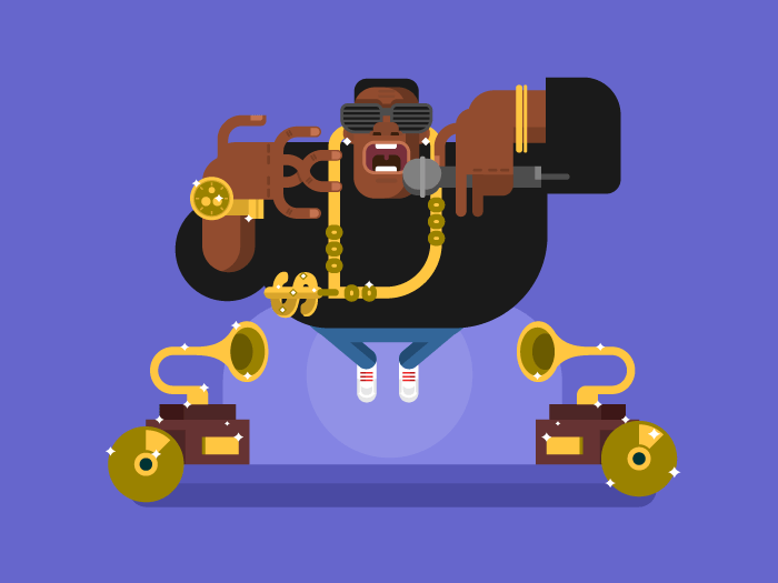Black rapper character flat vector illustration