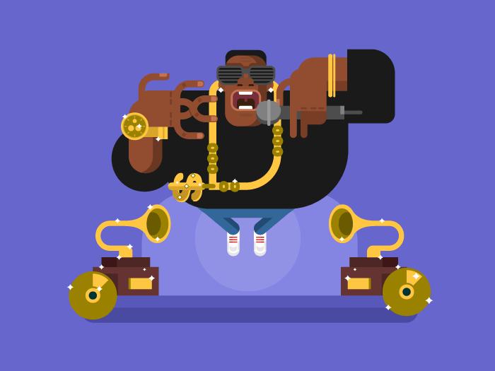 Black rapper character flat vector illustration