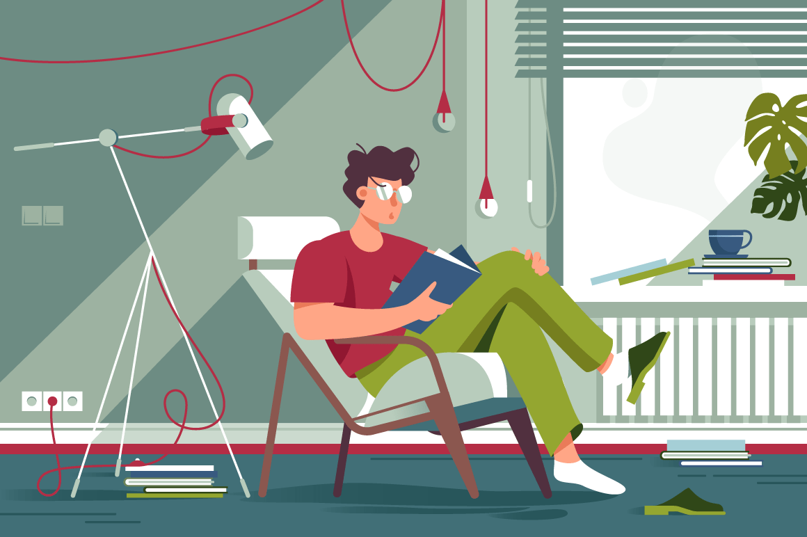 Flat man with glasses and home clothes reading book and sitting in chair.