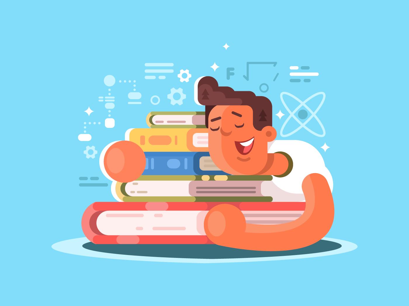 Cartoon man sleep on book flat vector illustration
