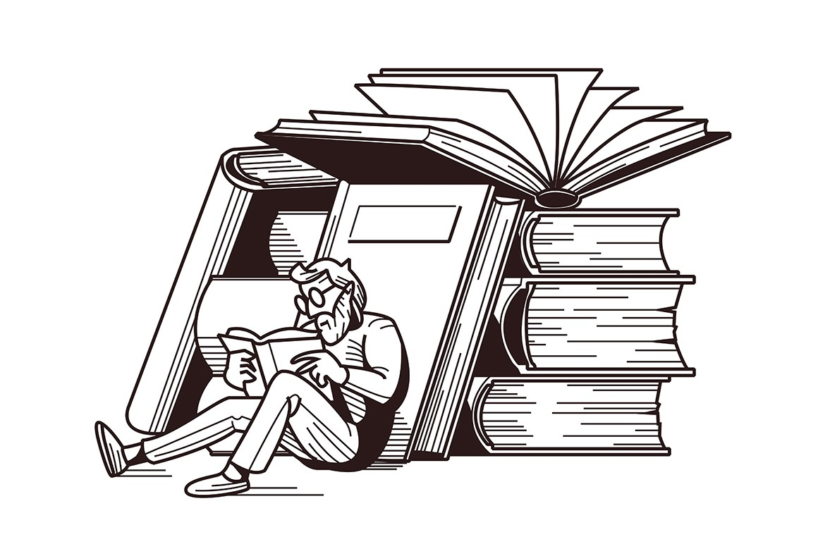 Man reading books vector illustration. Male in glasses sitting near stack of textbook flat style design in white and black colour. Intellectual hobby concept