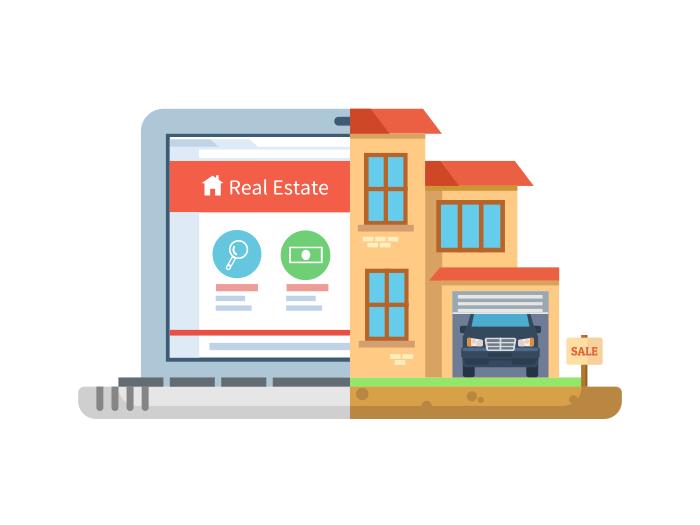 Real estate, laptop building flat illustration