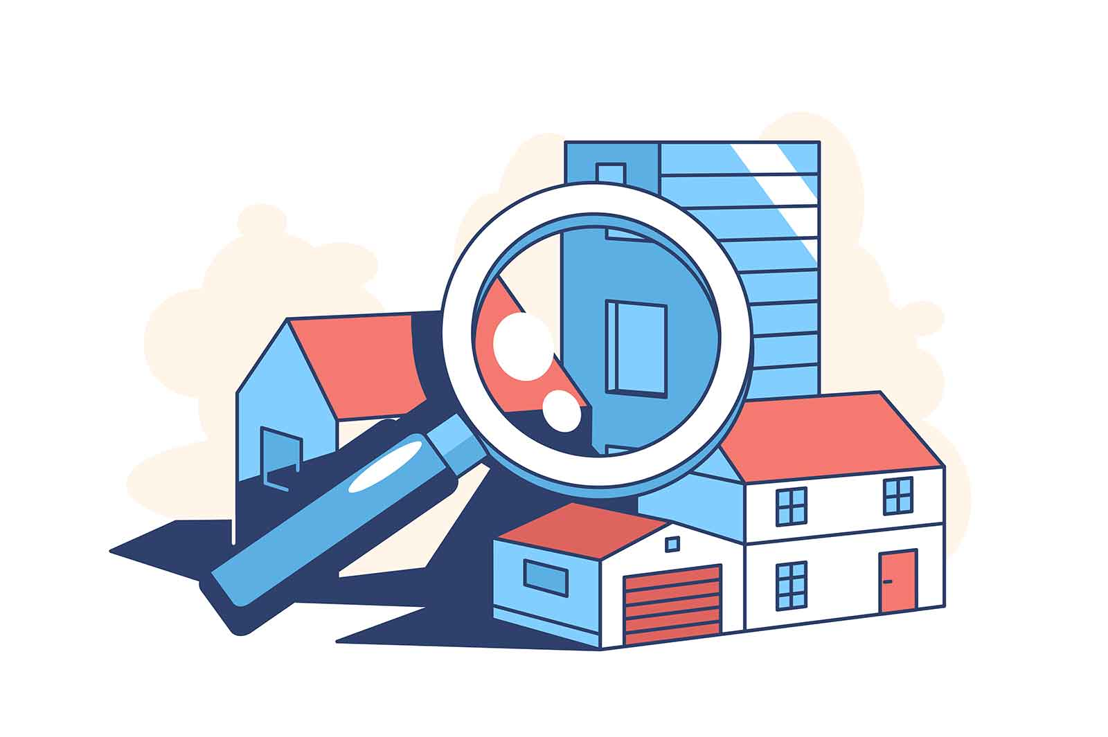 Real estate search vector illustration. Building and magnifying glass flat style. Purchase and sale of apartments. Mortgage. Property agency concept. Isolated on white background
