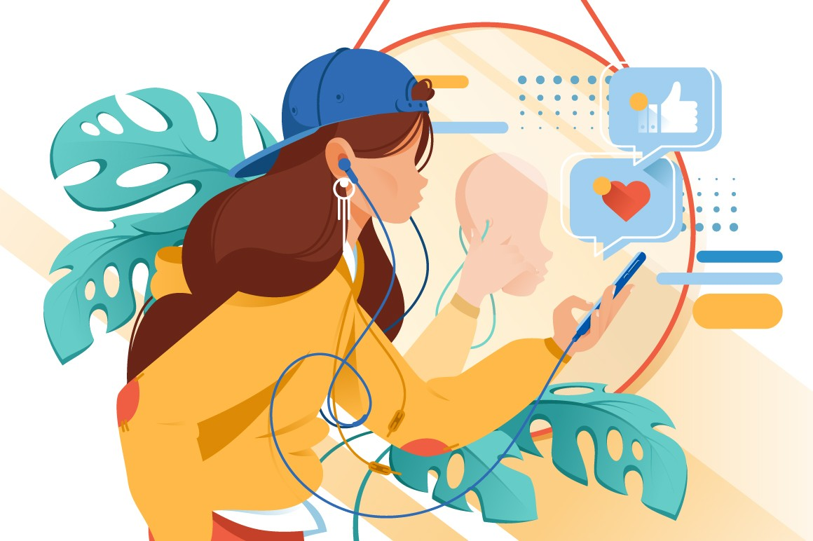 Flat young woman with mobile phone and earphones in virtual reality.