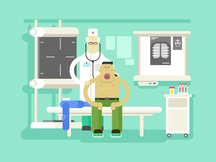 Patient and doctor character flat vector illustration