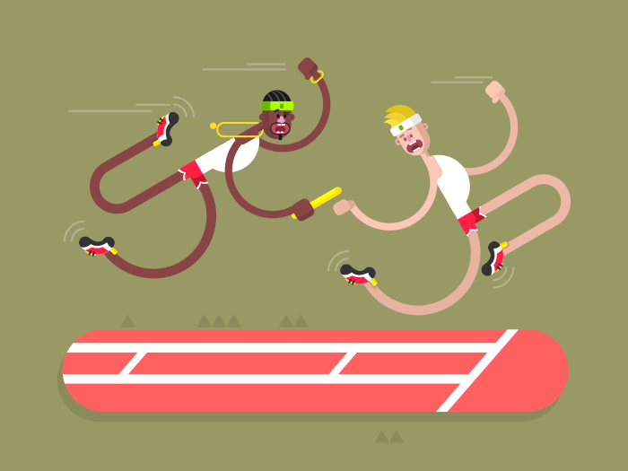 Relay athletics design flat vector illustration