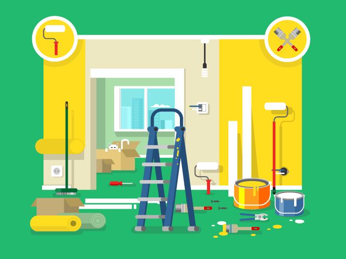 Renovation apartment flat vector illustration