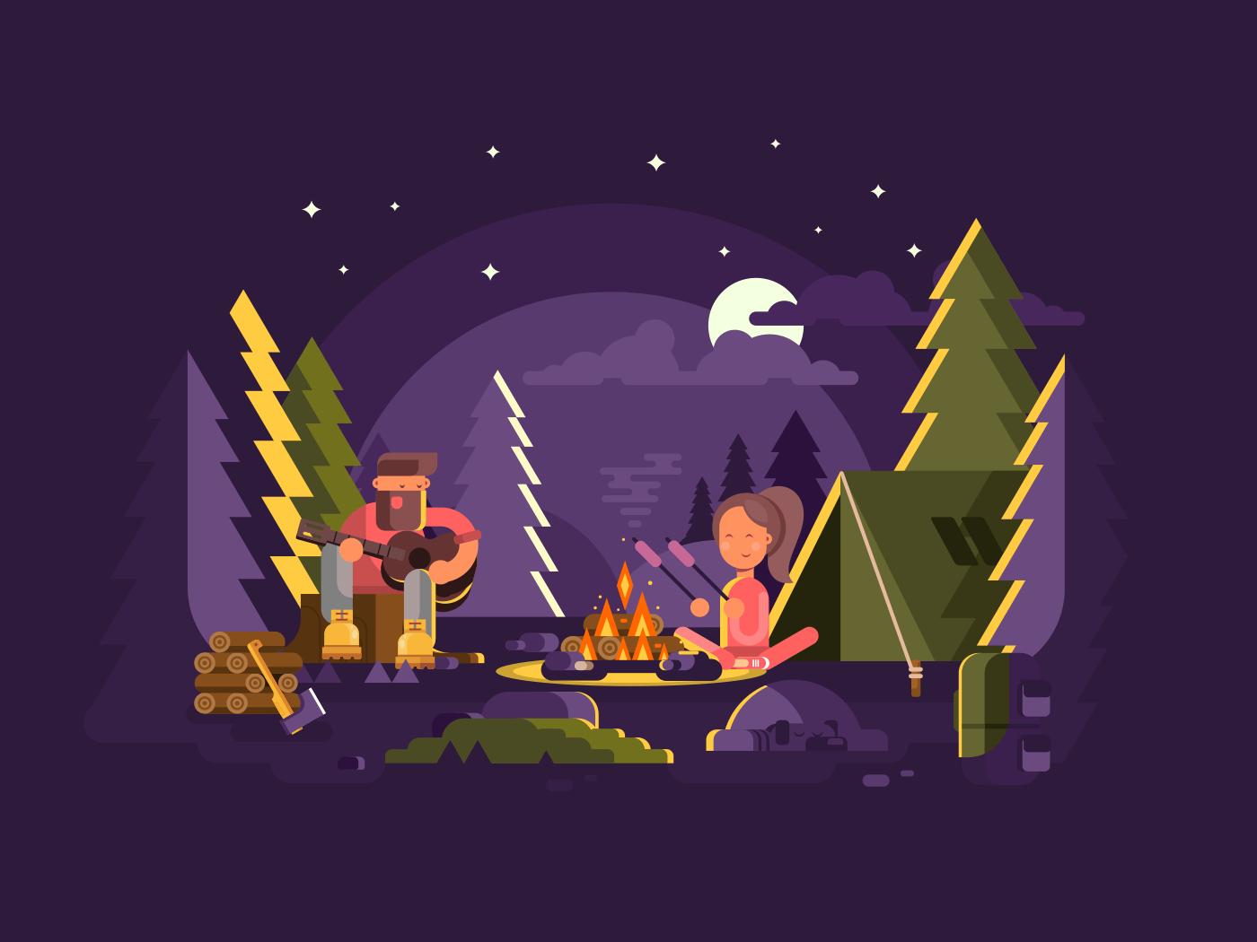 Camp near a fire flat vector illustration