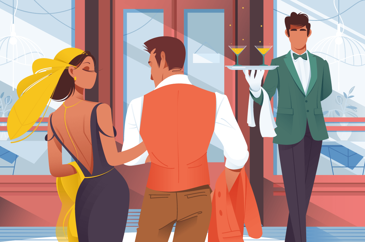 Flat young man and woman couple before entering in restaurant.