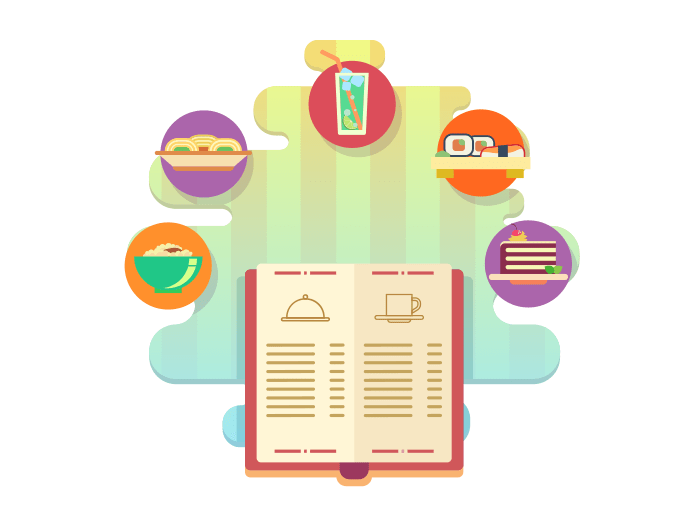 Menu of restaurant flat illustration