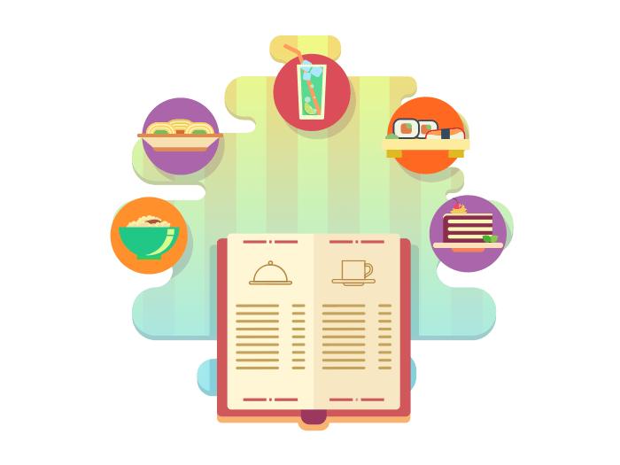 Menu of restaurant flat illustration