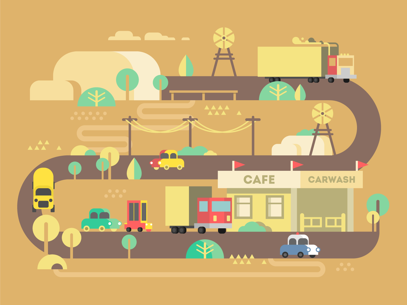 Roadside cafe flat vector illustration