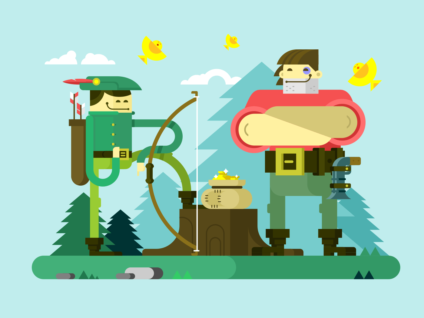 Character of Robin Hood flat vector illustration