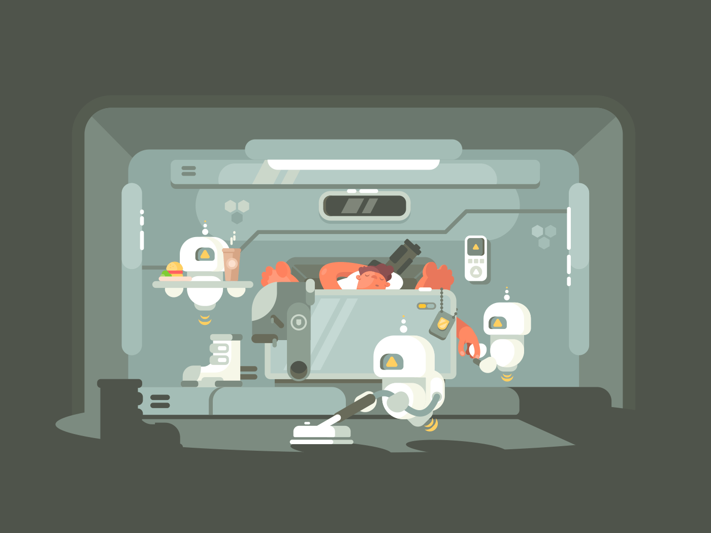 Future time, robots work illustration