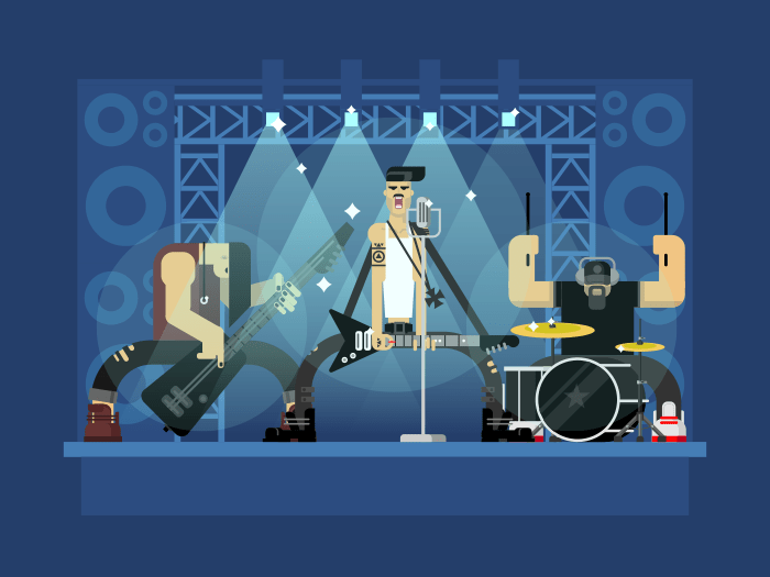Rock band flat vector illustration