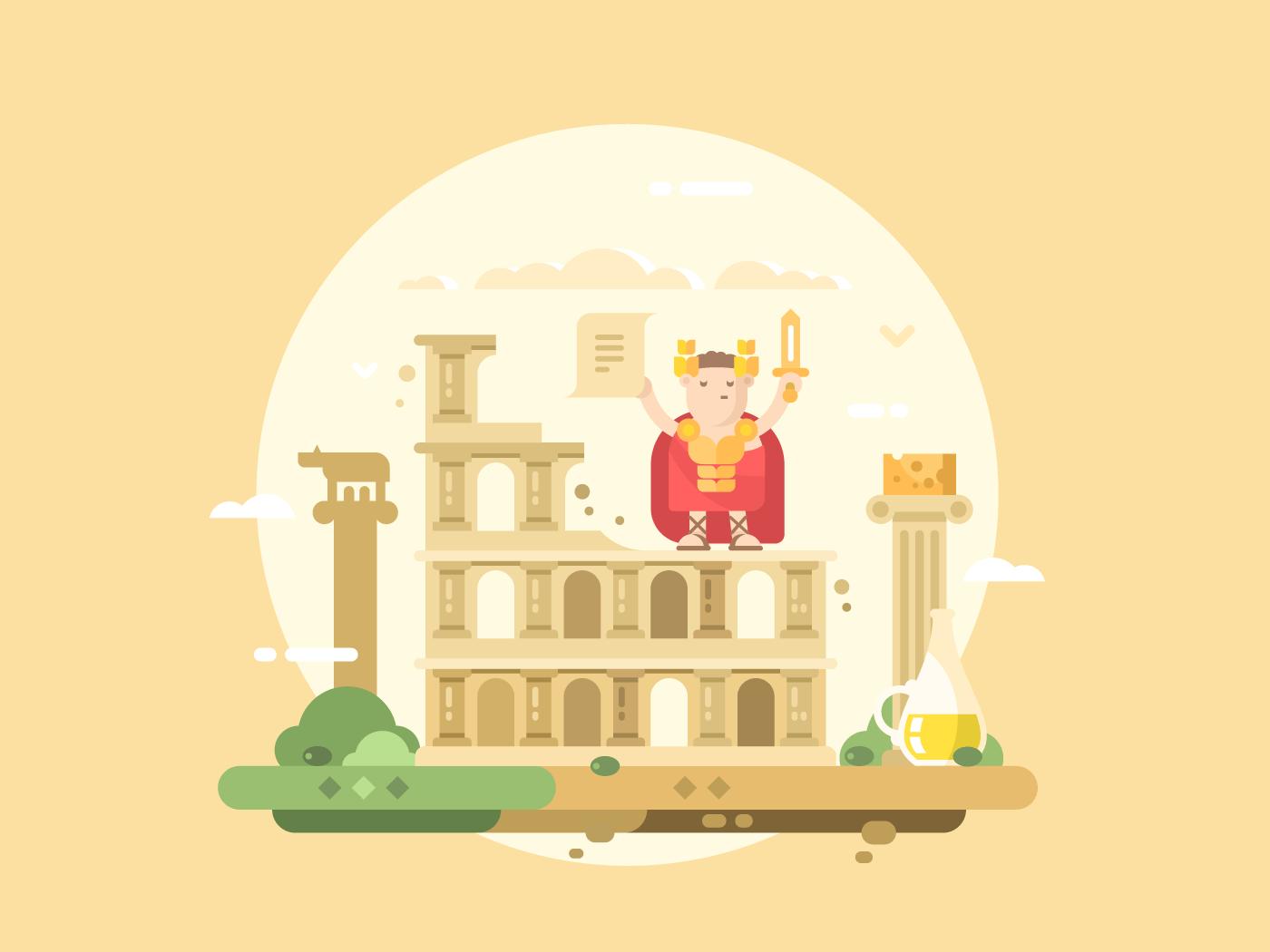 Rome city flat vector illustration
