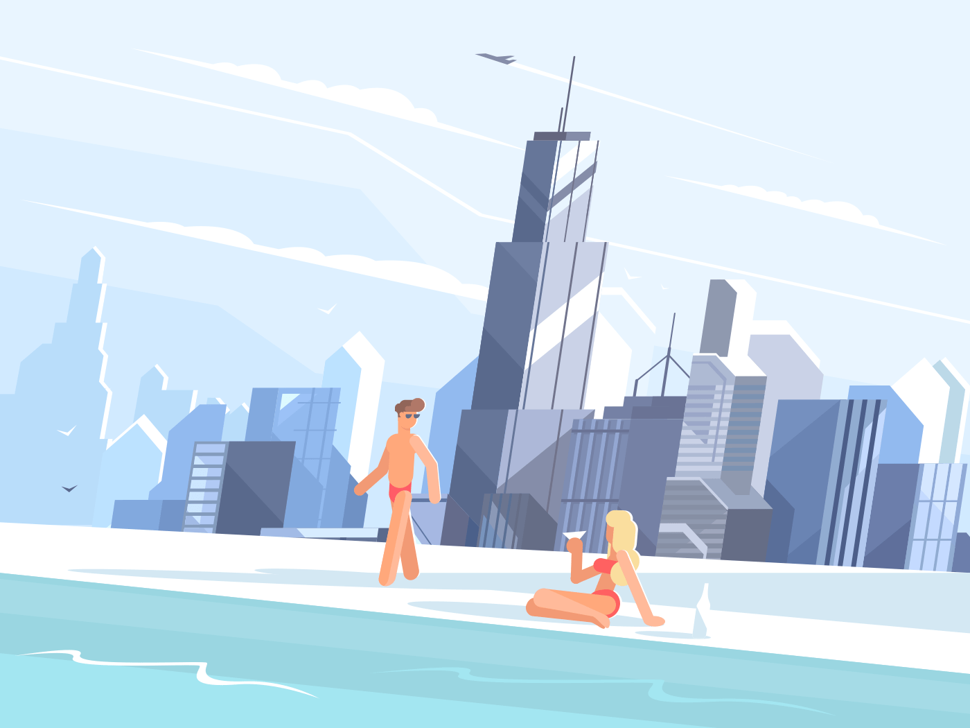 Swimming pool on roof of skyscraper illustration