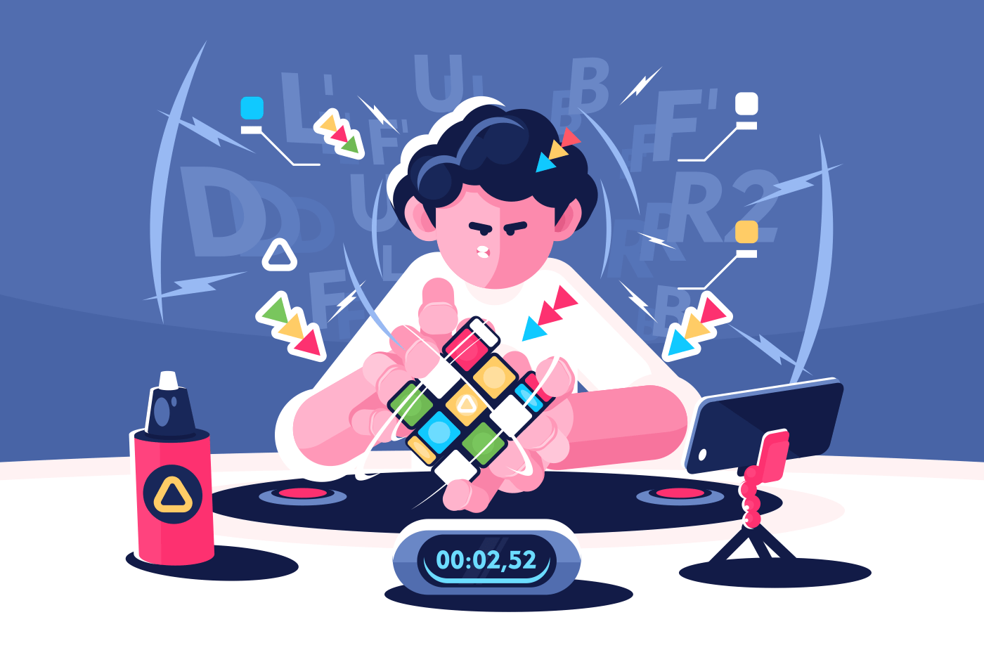 Man collect Rubik Cube timer championship concept. Player brainstorming successful compile strategy. Flat. Vector illustration.