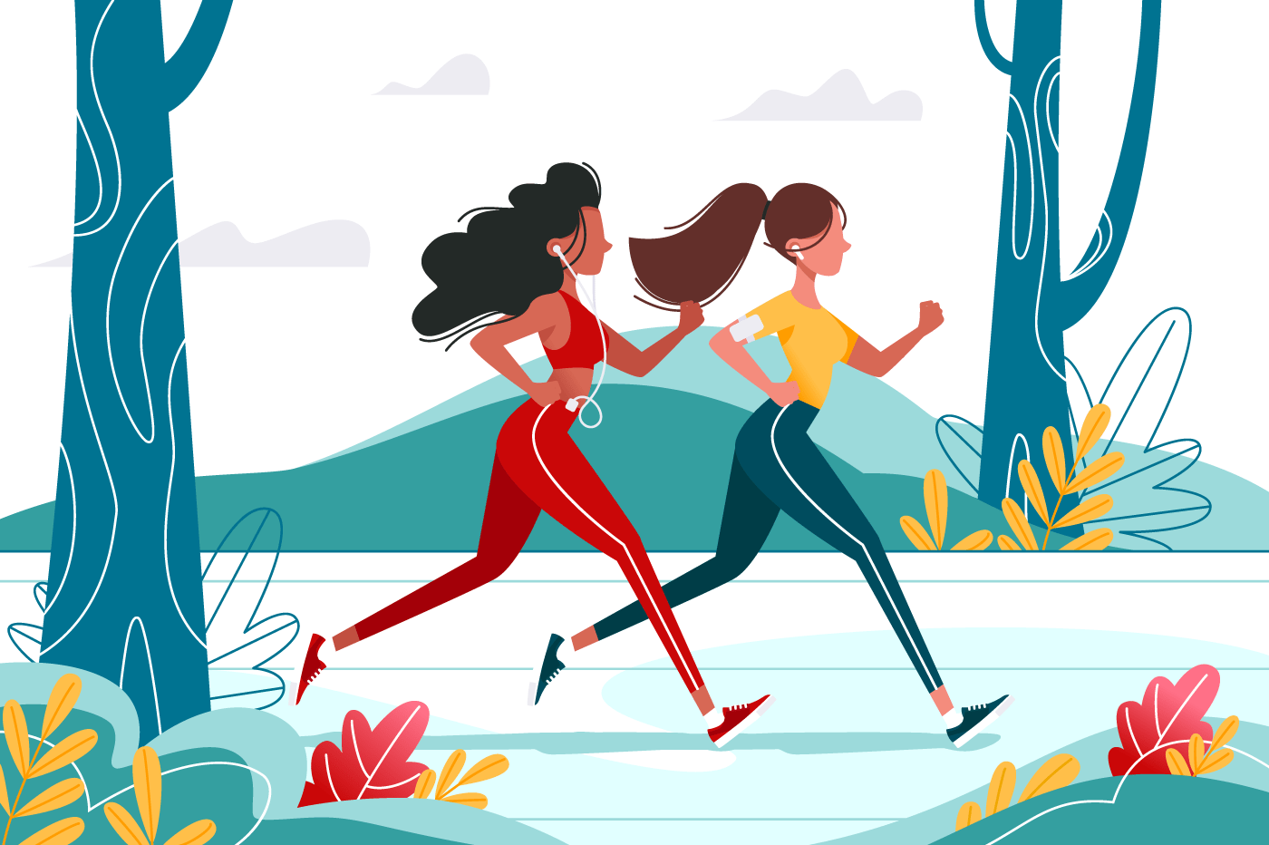 Running young girls in the forest with headphones.