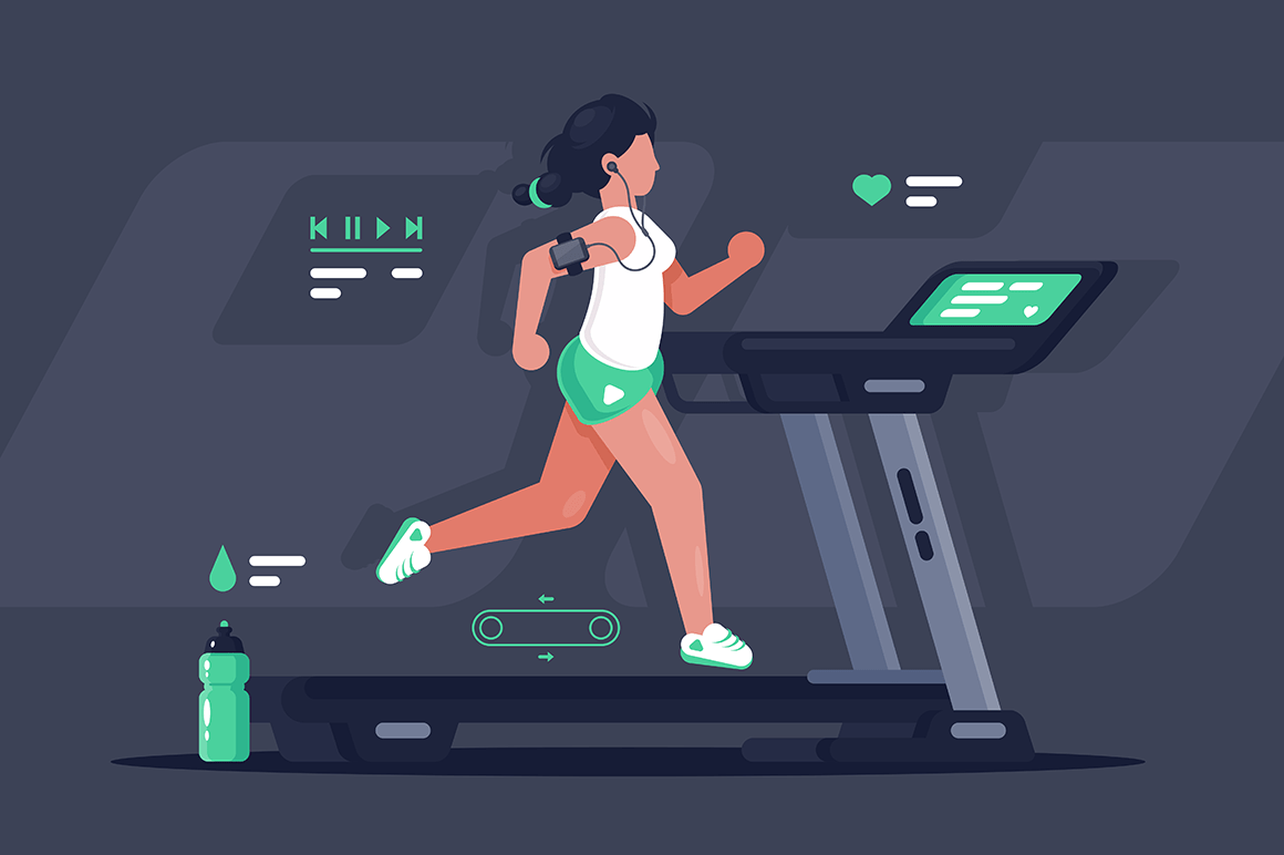 Flat silhouette young woman running on treadmill.