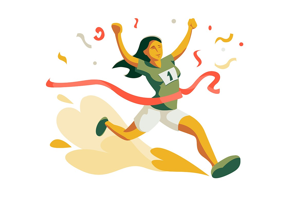 Woman running to cross finish line in competition vector illustration. Athlete female winning race flat design. Jogging tournament concept. Isolated on white