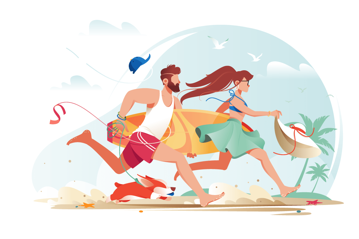 Flat young man with beard, surfboard and girl couple with corgi rush to rest.