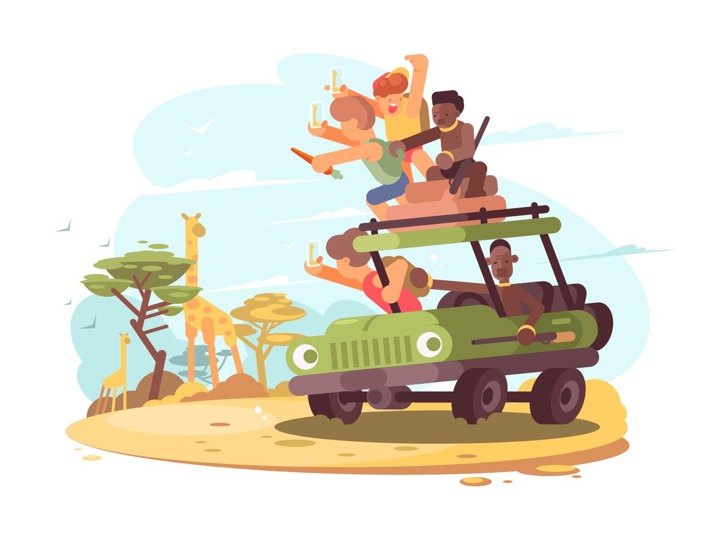 Group of tourists on safari illustration