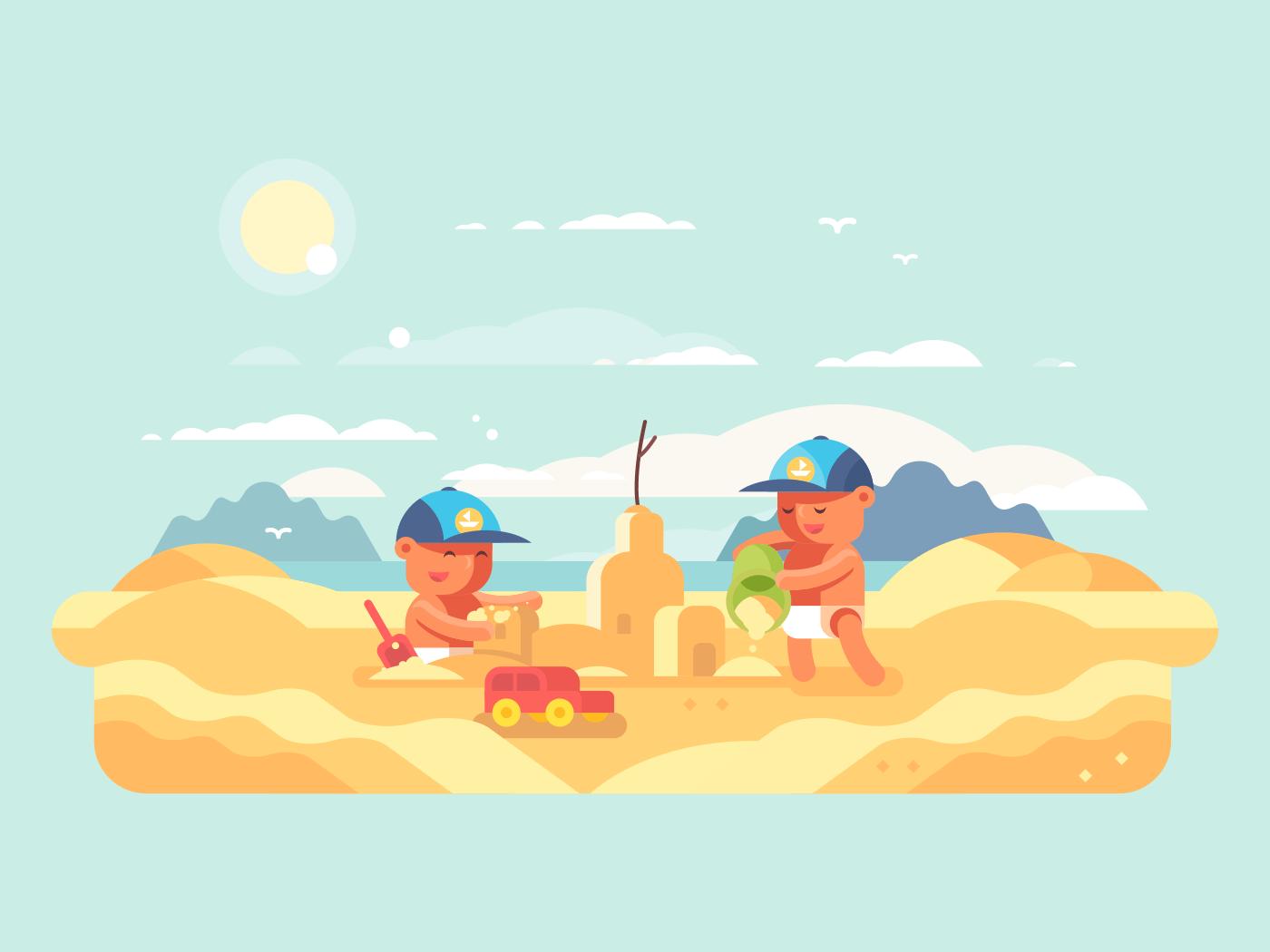 Sand castle on beach flat vector illustration