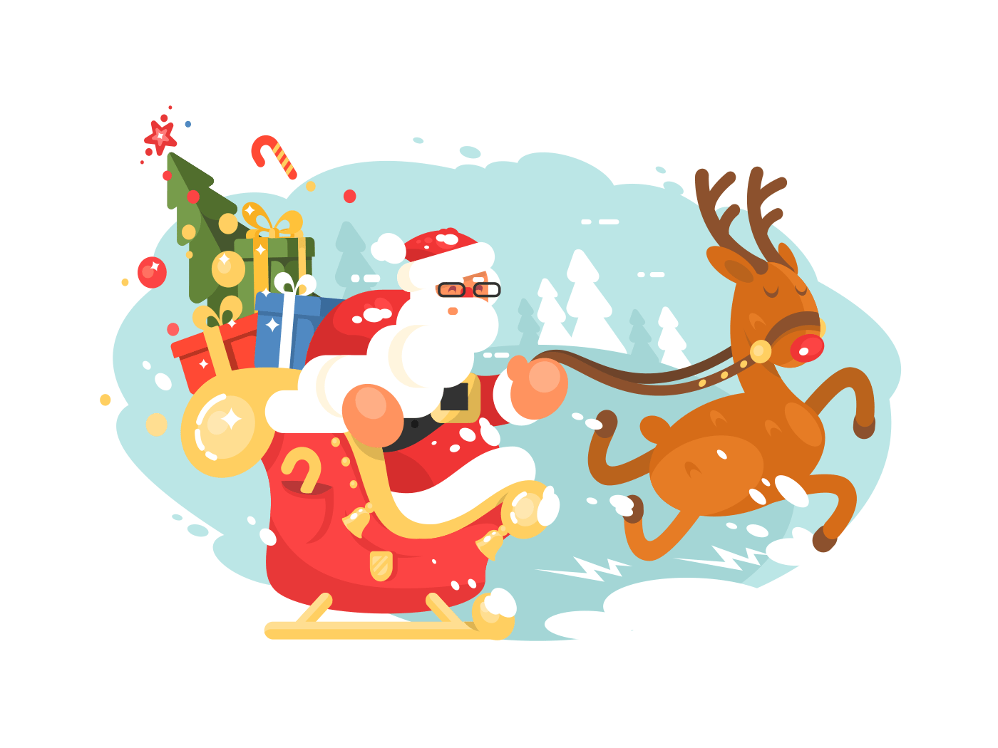Santa Claus rides in sleigh illustration