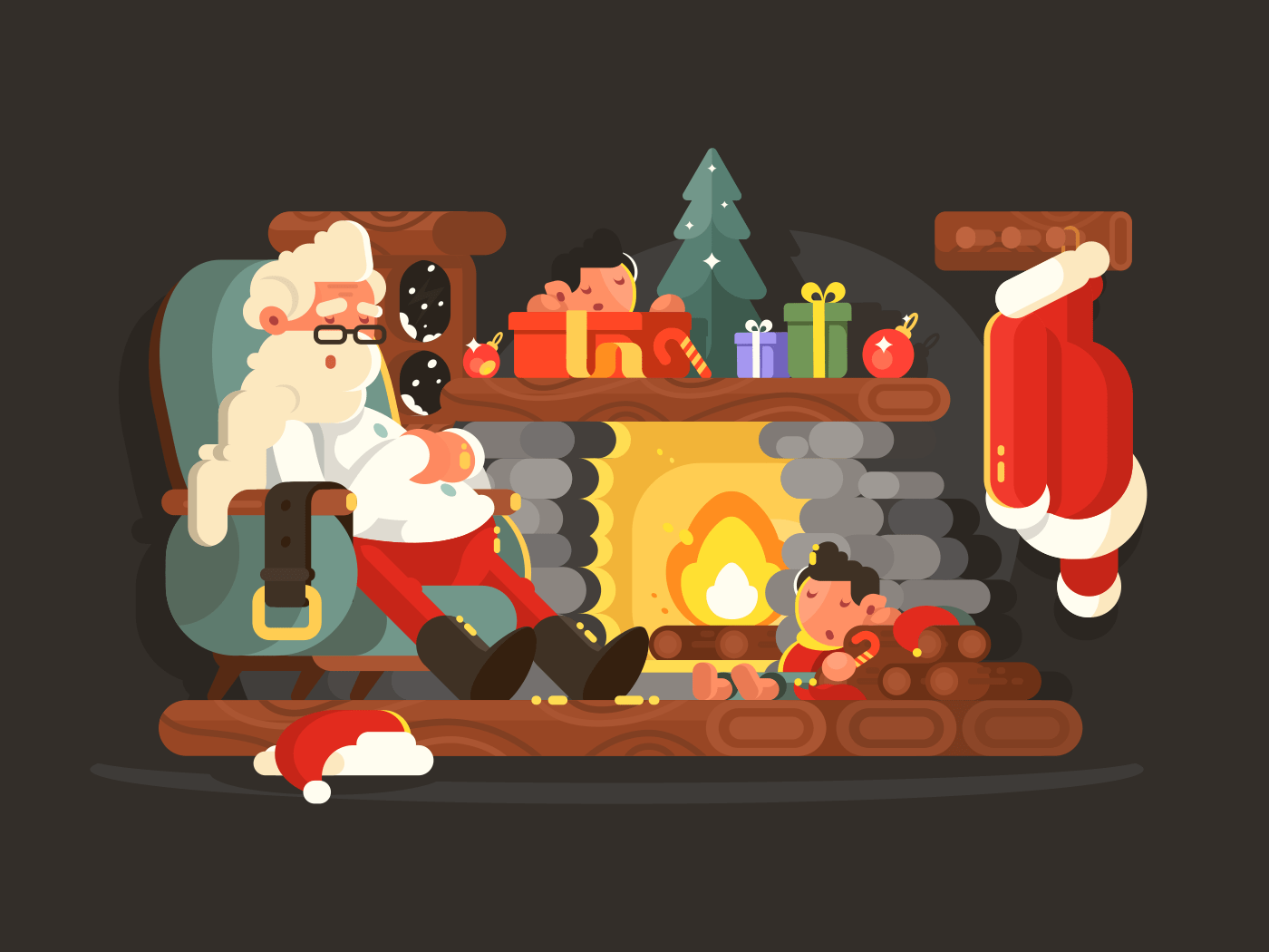 Character Santa Claus on chair near fireplace illustration