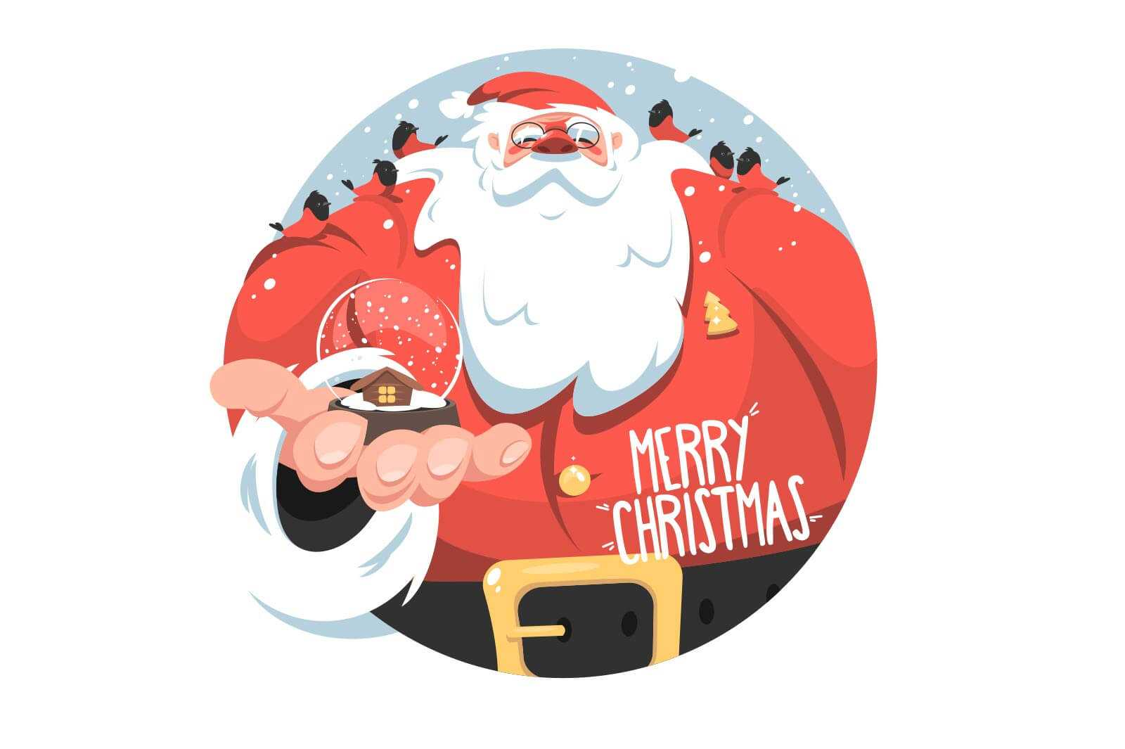 Santa claus in costume vector illustration.