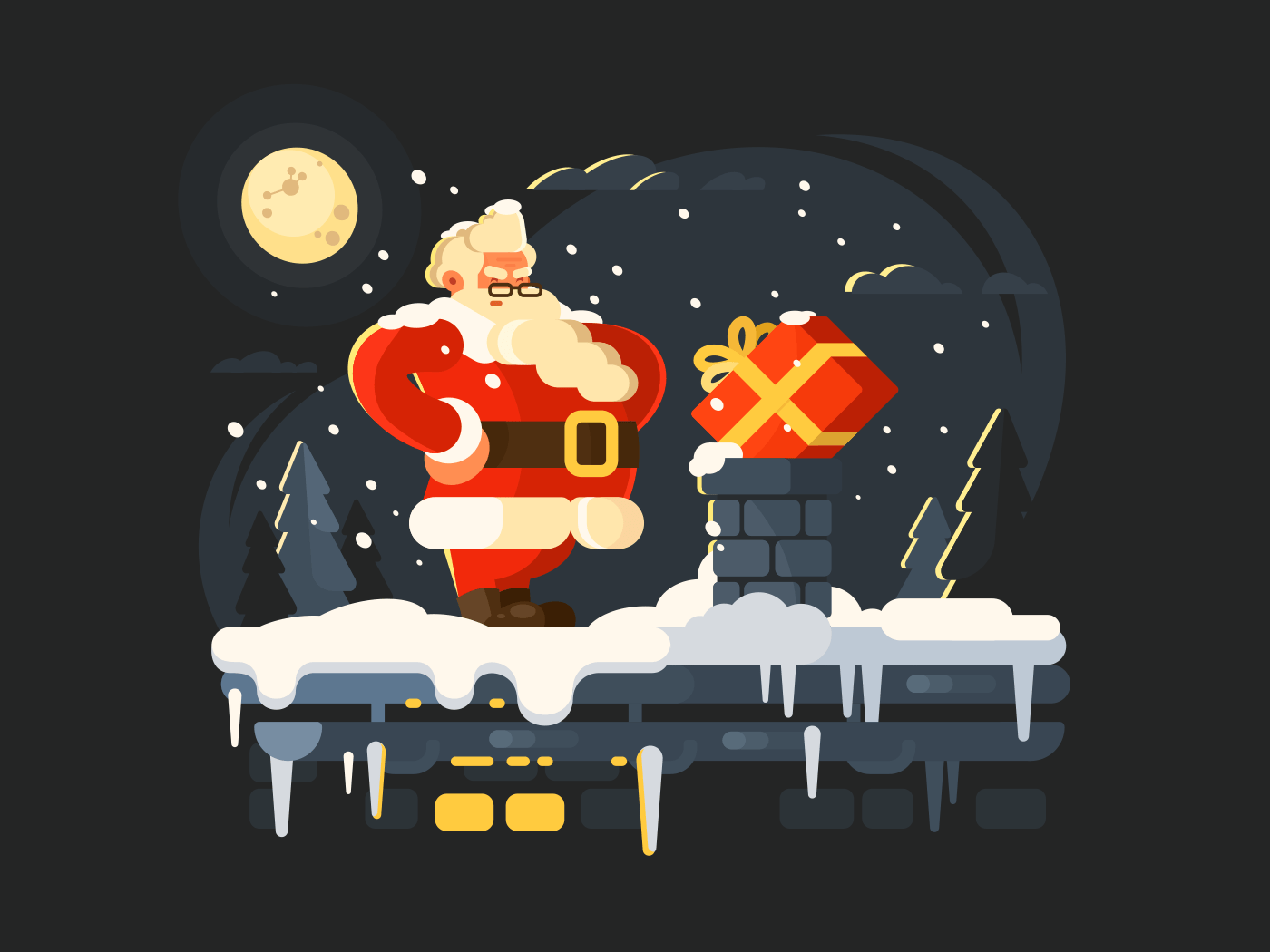 Santa Claus on roof illustration
