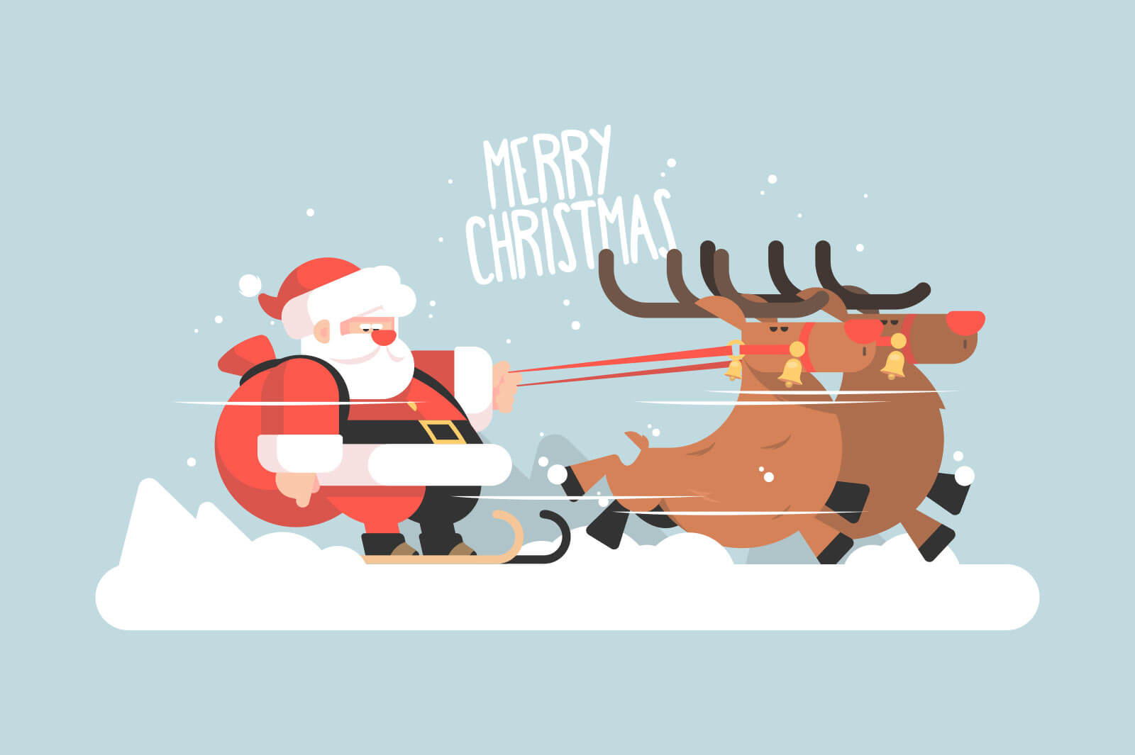 Santa claus riding reindeer vector illustration. Christmas character in costume with beard on sleigh flat style. Winter holiday and merry christmas concept. Isolated on blue background