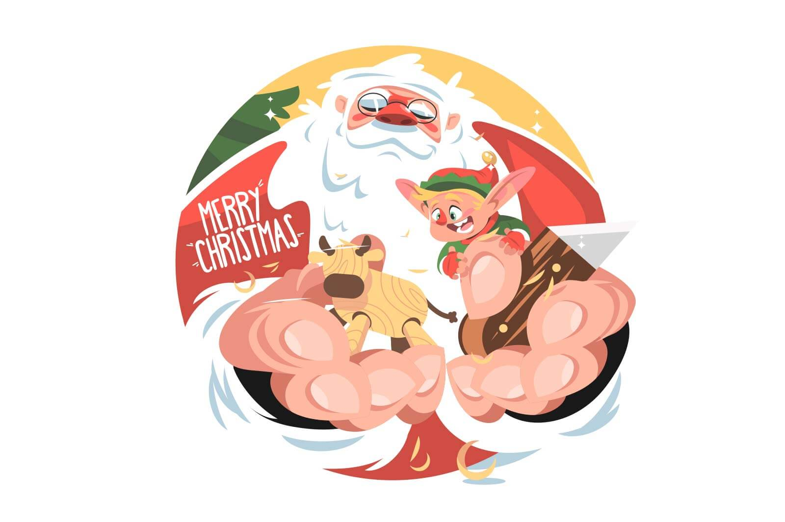 Santa claus make gift vector illustration. Toy made of wood flat style. Santas helper pixie on hand. Merry christmas and winter holiday concept. Isolated on white background