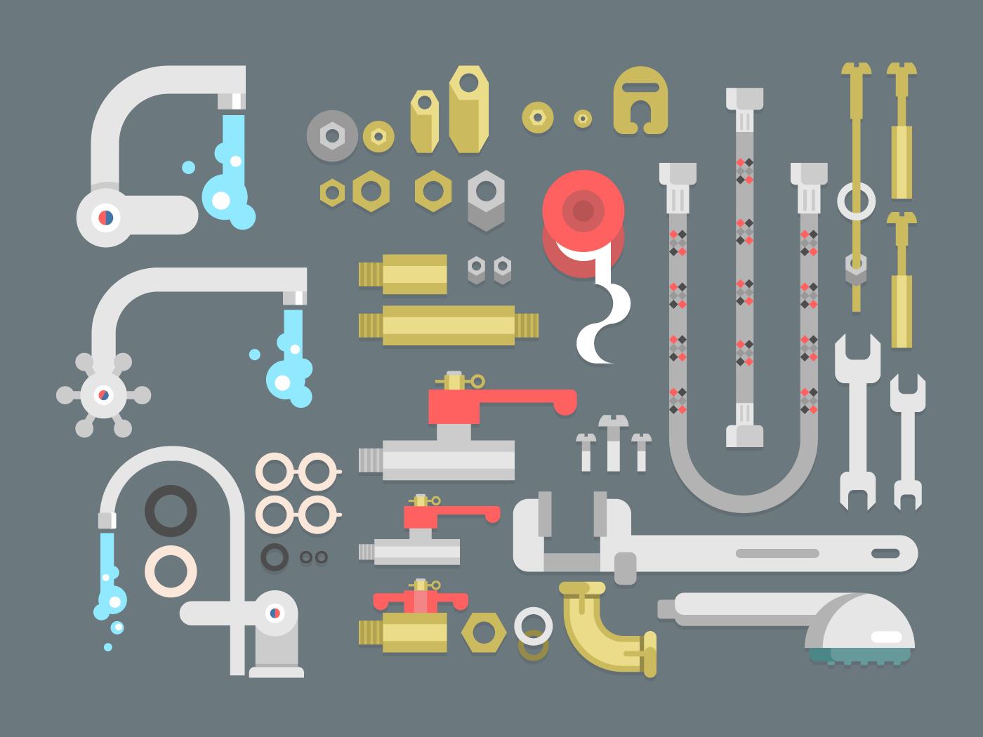 Set plumbing parts flat vector illustration