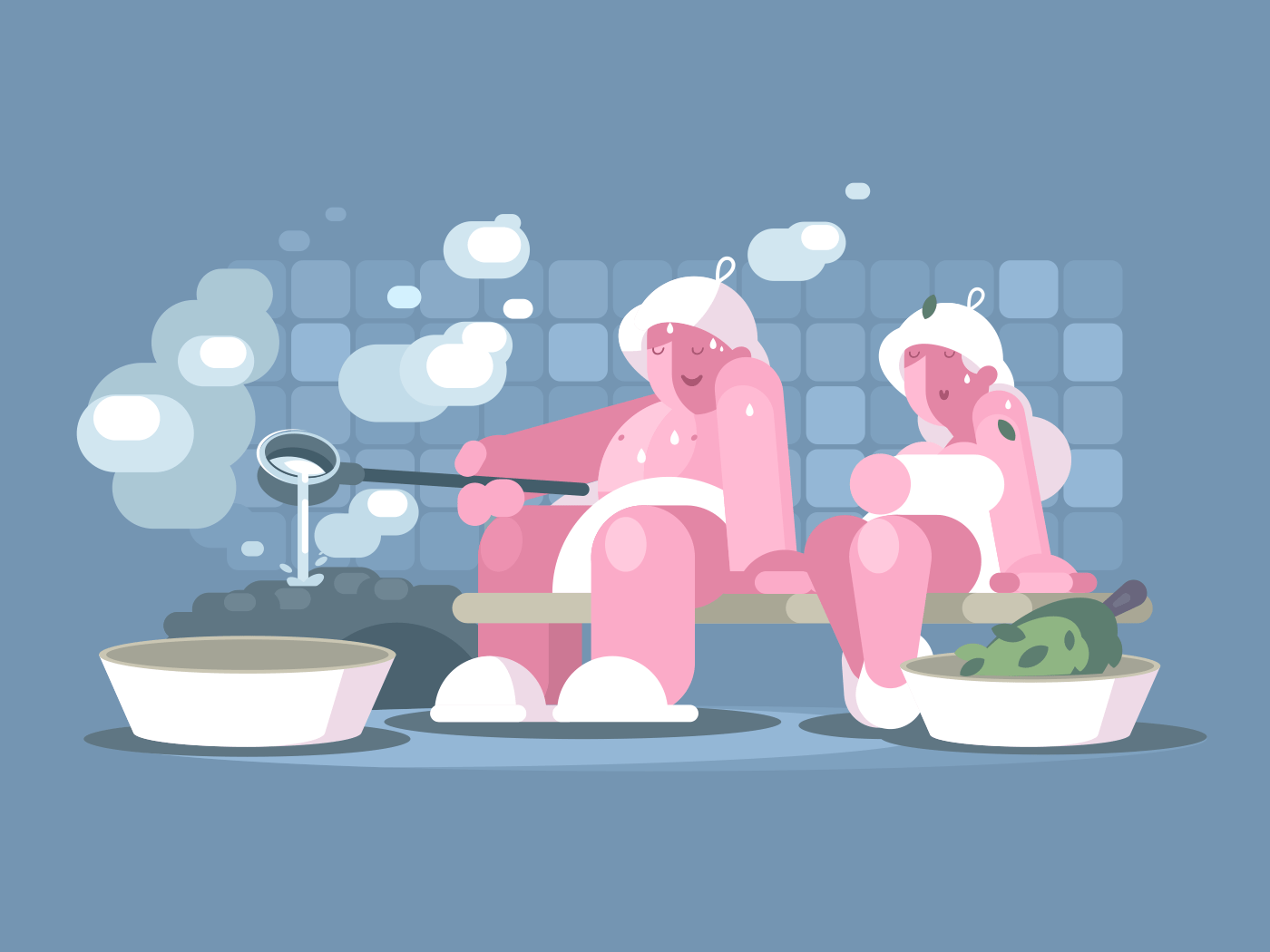 Man and woman relaxing in sauna. Healthy lifestyle vector illustration