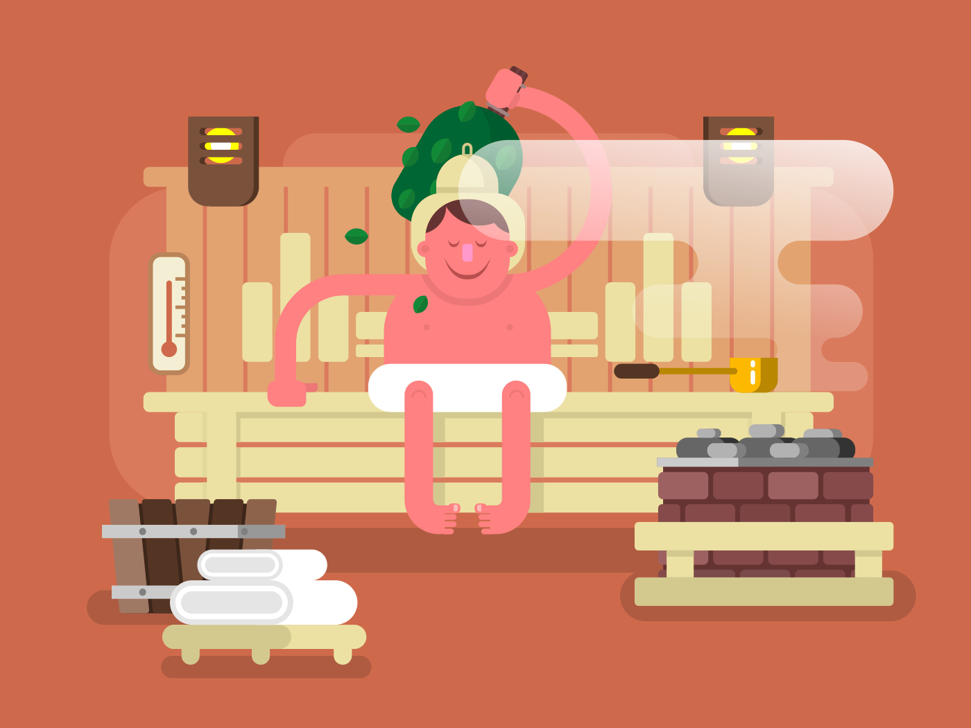 Man in the sauna steam flat vector illustration