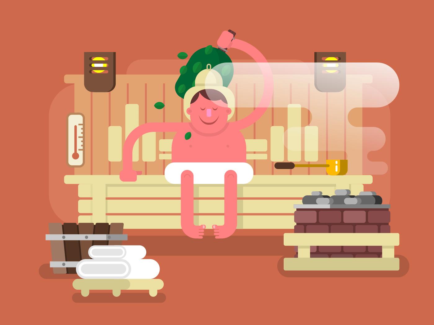 Man in the sauna steam flat vector illustration