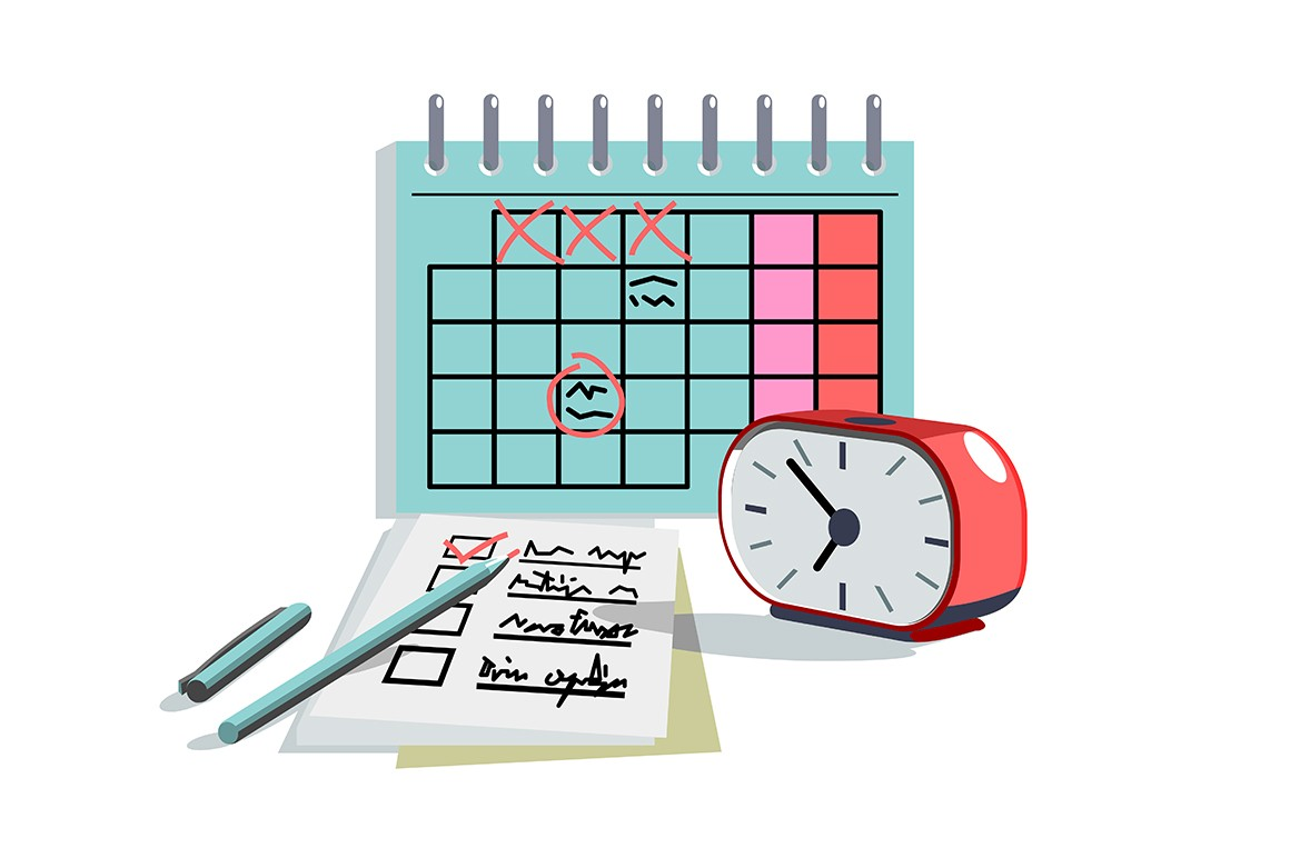 Planning day schedule in paper diary or notebook vector illustration. Writing marks with pencil flat style. Appointment calendar and time management concept. Isolated on white background