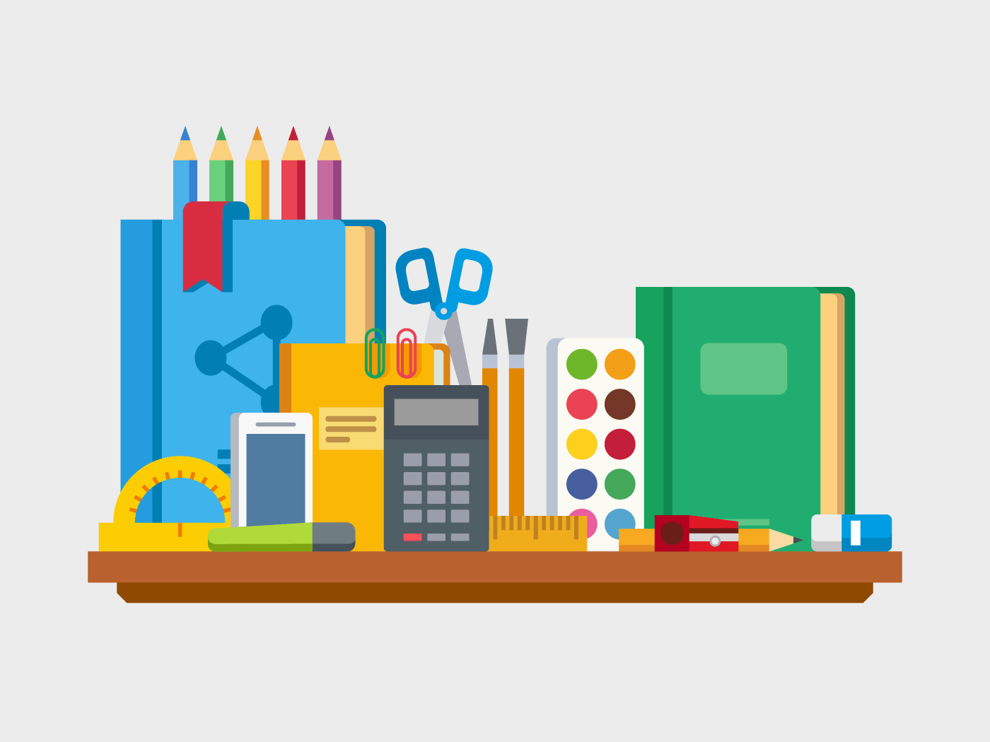 School, education items on table vector illustration
