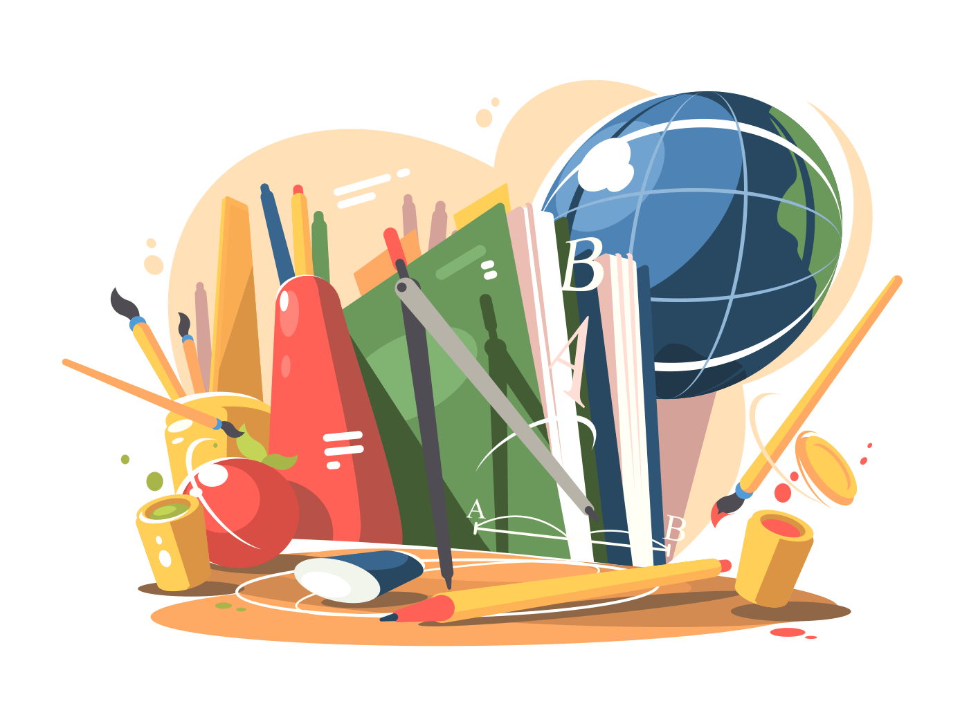 School supplies in a creative style. Globe, notebooks and books. Vector illustration