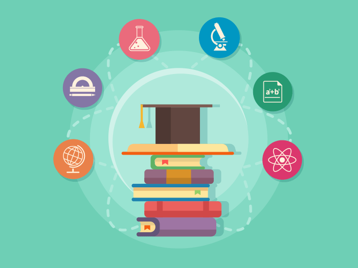 Science education flat vector illustration