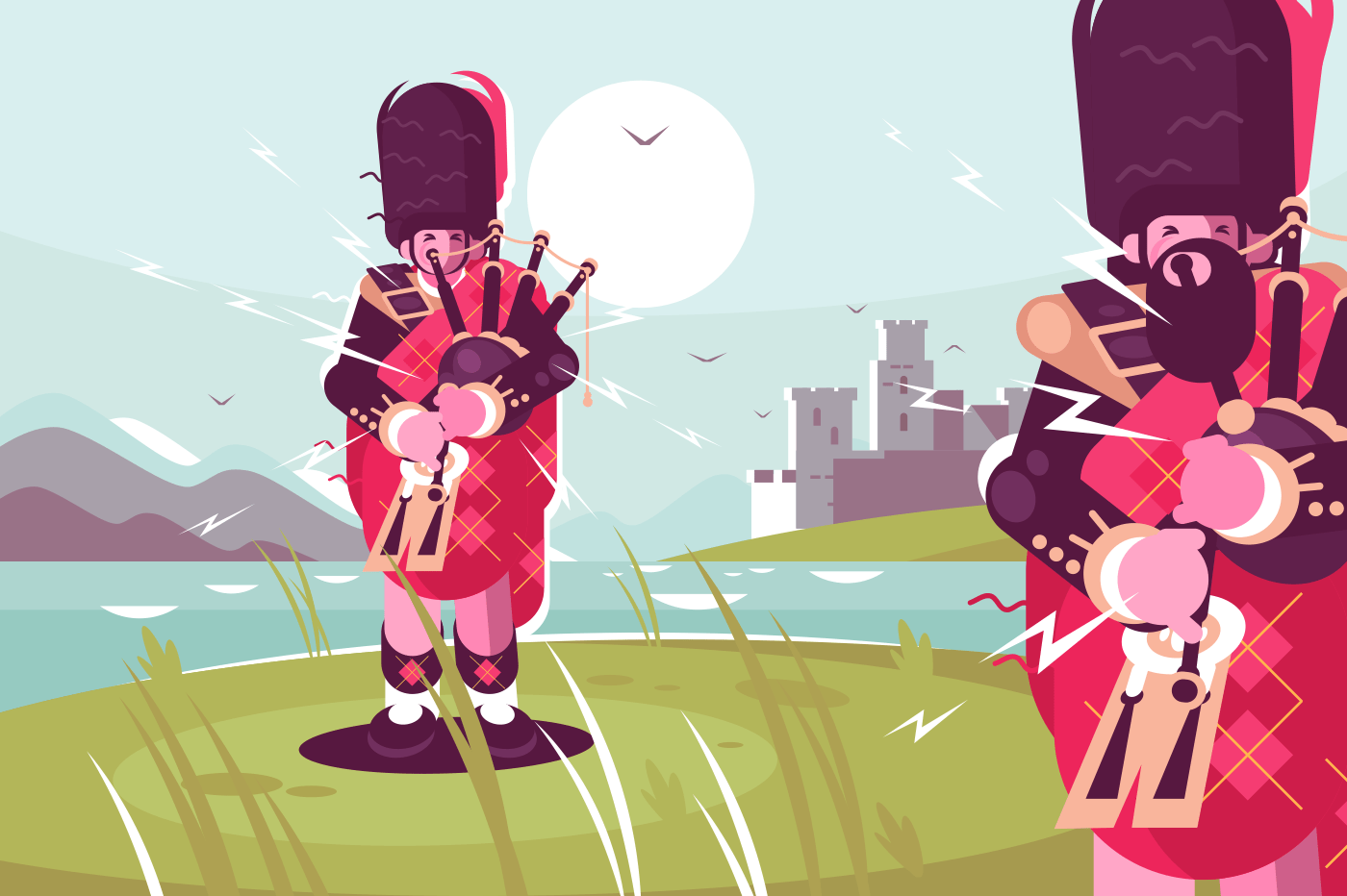 Scottish men bagpipers wearing traditional dress. National musician players sunset landscape background. Flat. Vector illustration